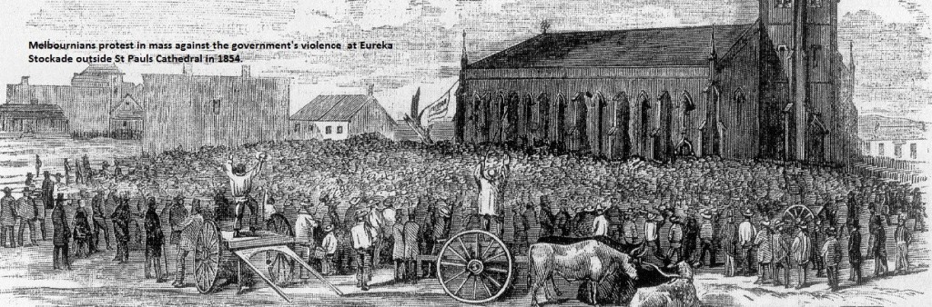 Melbourne citizens protest outside St Paul's Cathedral at Government attack at Eureka, 1854.