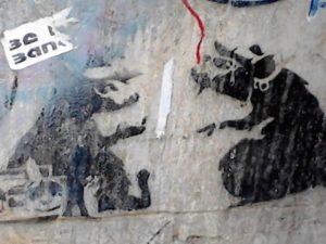 Former Banksy stencil destroyed ACDC Lane, July 2016
